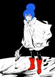 1girl abonnu_(adooonnu) absurdres axe blood blood_on_face blood_splatter bloody_clothes bloody_weapon blue_hair blush boots cloak commentary_request dripping footprints full_body hair_bun highres holding holding_weapon licking_lips limited_palette red_eyes red_footwear shima_rin short_hair solo tongue tongue_out weapon yurucamp