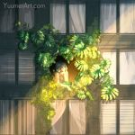 1girl building camisole closed_eyes commentary highres original plant short_hair silver_hair solo speedpaint sunlight watermark web_address wenqing_yan window