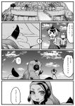 animal_ears bear_ears brown_bear_(kemono_friends) comic common_dolphin_(kemono_friends) giant_penguin_(kemono_friends) greyscale headphones highres kemono_friends kishida_shiki long_hair monochrome multiple_girls skirt smile tail translation_request very_long_hair