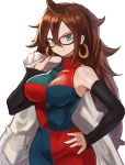 1girl android_21 bare_shoulders breasts brown_hair commentary_request detached_sleeves dragon_ball dragon_ball_fighterz earrings green_eyes hand_up highres holding hoop_earrings jewelry large_breasts long_hair long_sleeves looking_at_viewer simple_background sleeves_past_wrists smile solo sookmo standing upper_body very_long_hair white_background
