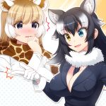 /\/\/\ 2girls :d animal_ears between_breasts black_hair black_jacket blonde_hair blush breast_pocket breasts cleavage commentary_request eyebrows_visible_through_hair fang fur_collar fur_trim giraffe_ears giraffe_print gloves grey_wolf_(kemono_friends) hand_up heterochromia highres jacket kemono_friends large_breasts long_hair multicolored_hair multiple_girls necktie necktie_between_breasts nose_blush open_mouth parted_lips pocket reticulated_giraffe_(kemono_friends) scarf smile snapping_fingers totokichi violet_eyes white_gloves white_hair wolf_ears yellow_eyes