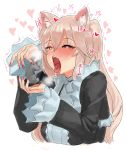 /\/\/\ 1girl animal_ears black_dress blonde_hair blush cat_ears commentary_request dress fingernails heart heart-shaped_pupils highres holding long_sleeves mouse nail_polish nora_cat nora_cat_channel open_mouth pink_nails red_eyes saliva solo suisogenshi symbol-shaped_pupils tongue tongue_out two_side_up virtual_youtuber