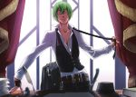 1boy balisong belt blazblue book chains curtains desk fedora green_hair hat hazama highres knife male_focus necktie necktie_removed official_art one_eye_closed paper shirt solo vest white_shirt window yellow_eyes
