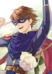 1boy azur_(fire_emblem) blue_eyes brown_hair cape fire_emblem fire_emblem:_kakusei kiyuu looking_at_viewer lucina mask smile solo