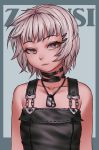 1girl bare_shoulders black_choker choker dog_tags eyebrows_visible_through_hair hair_ornament hairclip looking_at_viewer original sharp_teeth silver_hair solo teeth upper_body violet_eyes zakusi