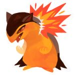 brown_eyes creature fangs fire full_body gen_2_pokemon glitchedpuppet no_humans pokemon pokemon_(creature) simple_background solo standing typhlosion white_background