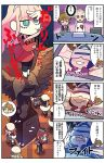 4boys 4koma 5girls ahoge beret black_hair blue_eyes blush bright_pupils brown_hair candy cape comic crying darling_in_the_franxx drooling flipped_hair flying_sweatdrops food grey_eyes grey_hair hat highres hiro_(darling_in_the_franxx) kokoro_(darling_in_the_franxx) lollipop long_hair low_ponytail mato_(mozu_hayanie) miku_(darling_in_the_franxx) multiple_boys multiple_girls nana_(darling_in_the_franxx) pink_hair ponytail shorts spoken_character translation_request uniform violet_eyes zero_two_(darling_in_the_franxx) zorome_(darling_in_the_franxx)