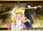 1boy 1girl :d ahoge araragi_koyomi arm_up armpits backlighting bare_arms bare_shoulders bat black_eyes black_hair black_pants blonde_hair blush_stickers cityscape cowboy_shot debris dress gakuran grin hair_between_eyes halter_dress holding holding_sword holding_weapon layered_dress lens_flare letterboxed long_hair long_sleeves looking_at_viewer nyoro_(nyoronyoro000) open_mouth oshino_shinobu outdoors pants pink_ribbon ribbon school_uniform sleeveless sleeveless_dress smile standing straight_hair sundress sword teeth v-shaped_eyebrows weapon white_dress yellow_eyes