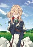 1girl absurdres bangs blonde_hair blue_jacket braid brooch closed_eyes clouds cowboy_shot daruartworks dress grass hair_between_eyes hair_intakes hair_ribbon highres hill holding_necklace jacket jewelry long_sleeves mechanical_hands prosthesis prosthetic_arm prosthetic_hand red_ribbon ribbon sky solo standing violet_evergarden violet_evergarden_(character) wind