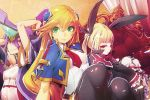 3girls :< artist_request black_legwear blazblue blonde_hair blue_capelet breasts cape capelet detached_sleeves forehead_protector green_eyes hair_between_eyes hair_ribbon hairpods highres legs_together long_hair mikado_(blazblue) miniskirt multiple_girls noel_vermillion official_art purple_hair rachel_alucard red_eyes ribbon sitting skirt small_breasts smile thigh-highs throne twintails wide_sleeves zettai_ryouiki
