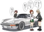 3girls alternate_legwear bangs black_footwear black_gloves black_legwear black_neckwear black_skirt blouse brown_footwear brown_hair car closed_mouth commentary_request dress_shirt eyebrows_visible_through_hair fingerless_gloves frown girls_und_panzer gloves green_skirt grey_shirt ground_vehicle itsumi_erika jitome kuromorimine_school_uniform loafers long_hair long_sleeves looking_at_another miniskirt motor_vehicle multiple_girls neckerchief nishizumi_maho nishizumi_miho ooarai_school_uniform open_mouth pleated_skirt school_uniform serafuku shadow shirt shoes short_hair siblings silver_hair simple_background sisters skirt socks standing uona_telepin vehicle_request white_background white_blouse |_|