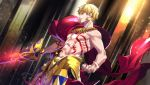 1boy abs bare_arms blonde_hair cape cowboy_shot ea_(fate/stay_night) earrings fate/grand_order fate_(series) faulds fingernails from_side gilgamesh grin holding holding_sword holding_weapon jewelry lock_earrings male_focus necklace parted_lips red_cape red_eyes shirtless smile solo standing sword tattoo tenobe weapon