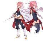 1girl absurdres astolfo_(fate) black_legwear boots braid cape drawfag fate_(series) fingerless_gloves fur_trim genderswap genderswap_(mtf) gloves highres multiple_views pink_eyes pink_hair reverse_trap smile standing sword thigh-highs weapon white_footwear