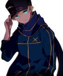 1boy ahoge artoria_pendragon_(all) baseball_cap blonde_hair blue_eyes blue_hat blue_jacket blue_scarf commentary_request cosplay fate/grand_order fate/prototype fate_(series) hand_on_headwear hand_up hat hiiragi_fuyuki jacket long_sleeves looking_at_viewer male_focus mysterious_heroine_x mysterious_heroine_x_(cosplay) saber_(fate/prototype) scarf simple_background smile solo upper_body white_background