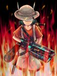 1girl aura backpack bag bfg_9000 black_gloves black_legwear blue_eyes chainsaw commentary_request crossover doom_(2016) doom_(game) eyebrows_visible_through_hat fire frown gloves gun hat hat_feather hat_over_one_eye highres kaban_(kemono_friends) kemono_friends looking_at_viewer pantyhose pantyhose_under_shorts red_shirt serious shirt shorts shotgun solo weapon white_shorts