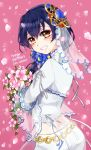 1girl bangs birthday blue_hair blush commentary_request dated eyebrows_visible_through_hair flower from_behind hair_between_eyes hair_ornament happy_birthday long_hair looking_at_viewer looking_back love_live! love_live!_school_idol_project petals purin_(purin0) smile solo sonoda_umi vietnamese_dress