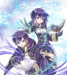 1boy 1girl blue_eyes blue_hair book cloak fire_emblem fire_emblem:_kakusei fire_emblem_heroes gloves holding holding_book lightning looking_at_viewer magic mark_(fire_emblem) siblings smile twins