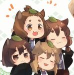 4girls :3 animal_ears black_jacket brown_eyes brown_hair chibi commentary_request extra eyebrows_visible_through_hair freckled_tanuki jacket japanese_clothes jitome light_brown_eyes light_brown_hair medium_hair multiple_girls open_mouth own_hands_together pigtailed_tanuki raccoon_ears sen1986 short_hair short_twintails slit-eyed_tanuki tanuki_extra thick_eyebrows topknot topknot_tanuki touhou twintails wild_and_horned_hermit |3