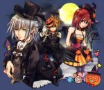 1girl blue_eyes brown_hair commentary_request formal halloween kairi_(kingdom_hearts) kingdom_hearts kingdom_hearts_ii medium_hair multiple_boys redhead riku silver_hair sora_(kingdom_hearts) suit