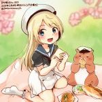 1girl :d animal blonde_hair blue_eyes blue_sailor_collar bread colored_pencil_(medium) dated dress food hamster hat holding holding_food jervis_(kantai_collection) kantai_collection kirisawa_juuzou long_hair non-human_admiral_(kantai_collection) numbered open_mouth sailor_collar sailor_dress short_sleeves smile traditional_media twitter_username white_hat