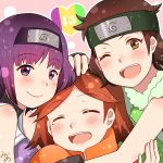 3girls bare_shoulders blush boruto:_naruto_next_generations braid brown_hair closed_eyes green_eyes highres izuno_wasabi kakei_sumire konohagakure_symbol long_hair looking_at_viewer mizuno_12 mole mole_under_eye multiple_girls naruto open_mouth purple_hair short_hair smile suzumeno_namida twin_braids twintails very_long_hair violet_eyes