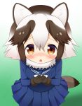 1girl animal_ears bangs black_gloves blue_serafuku blue_shirt blue_skirt blush bow bowtie brown_eyes brown_hair chestnut_mouth commentary_request eyebrows_visible_through_hair fur-trimmed_gloves fur_collar fur_trim gloves hair_between_eyes highres kemono_friends long_sleeves multicolored_hair own_hands_together parted_lips pleated_skirt raccoon_ears raccoon_tail school_uniform serafuku shin01571 shirt sidelocks skirt solo tail tanuki_(kemono_friends) white_hair white_neckwear