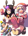 3girls :d animal_costume animal_ears antlers bangs bell black_hair blonde_hair blue_eyes boots breasts brown_footwear brown_shirt brown_shorts candy candy_cane carrying christmas_ornaments christmas_tree christmas_tree_costume clara_(girls_und_panzer) cleavage commentary_request crop_top detached_sleeves dress eyebrows_visible_through_hair fang food foreshortening fur-trimmed_collar garland_(decoration) girls_und_panzer gloves hat highres holly jingle_bell katyusha kneeling large_breasts long_hair looking_at_viewer midriff multiple_girls nonna open_mouth piggyback red_collar red_dress red_footwear red_gloves red_hat red_mittens reindeer_antlers reindeer_costume reindeer_ears santa_costume santa_hat shirt short_hair short_shorts short_sleeves shorts smile snowflake_print standing strapless strapless_dress sw swept_bangs thigh-highs thigh_boots white_background
