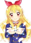 1girl aikatsu! aikatsu!_(series) bangs blonde_hair blue_jacket blush bow closed_mouth commentary_request eyebrows_visible_through_hair hair_bow hairband hands_up highres hoshimiya_ichigo jacket long_sleeves looking_at_viewer petals pink_eyes red_bow sekina simple_background smile solo upper_body white_background