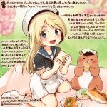 1girl :d animal blonde_hair blue_eyes blue_sailor_collar bread colored_pencil_(medium) commentary_request dated dress food hamster hat holding holding_food jervis_(kantai_collection) kantai_collection kirisawa_juuzou long_hair non-human_admiral_(kantai_collection) numbered open_mouth sailor_collar sailor_dress short_sleeves smile traditional_media translation_request twitter_username white_hat