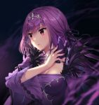 1girl artist_name bangs black_feathers black_ribbon breasts caster_(lostbelt) cleavage collar dress fate/grand_order fate_(series) feather_trim feathers hair_ornament hair_ribbon light_blush long_hair long_sleeves looking_afar medium_breasts nail_polish pink_nails purple_dress purple_hair red_eyes ribbon rosuuri upper_body wide_sleeves