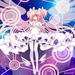 1girl absurdly_long_hair blush bow brown_eyes choker covered_navel dress foot_wings full_body gloves goddess_madoka hands_on_own_chest kaname_madoka kawanobe long_hair looking_at_viewer magic_circle mahou_shoujo_madoka_magica pink_hair short_twintails smile solo twintails twitter_username two_side_up very_long_hair white_bow white_dress white_gloves white_legwear
