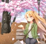 1girl ame. arm_support azur_lane bag bangs bench black_jeans black_pants blue_sky blush breasts brick_wall broken_wall building cherry_blossoms cleveland_(azur_lane) clouds commentary_request day denim eyebrows_visible_through_hair green_jacket hair_between_eyes hand_up jacket jeans lamppost light_brown_hair long_hair long_sleeves looking_away on_bench one_side_up open_clothes open_jacket outdoors pants parted_lips red_eyes shirt shoulder_bag sitting sky sleeves_folded_up small_breasts solo tree very_long_hair white_shirt window