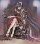 2girls bangs black_hair commentary_request final_fantasy final_fantasy_xiv flower hair_flower hair_ornament kneeling legs_crossed long_hair looking_at_another multicolored multicolored_clothes multiple_girls open_mouth pengnangehao sandals sitting smile yotsuyu_(final_fantasy_xiv) yugiri_mistwalker yuri