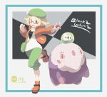 1girl :d bag bel_(pokemon) blonde_hair bow brown_footwear clenched_hand copyright_name gen_5_pokemon glasses green_eyes green_hat green_pants handbag hat hat_bow highres holding holding_poke_ball jacket looking_at_viewer musharna nomura_(buroriidesu) open_mouth orange_jacket pants pink-framed_eyewear pink_eyes poke_ball pokeball_symbol pokemon pokemon_(creature) pokemon_(game) pokemon_bw2 short_hair simple_background smile solosis standing standing_on_one_leg