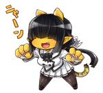 1girl :d bangs black_hair black_neckwear blunt_bangs bow bowtie chibi covered_eyes facing_viewer fang hair_ribbon jacket legs_apart long_hair long_sleeves nyan oni open_mouth original paws pleated_skirt pointy_ears ribbon simple_background skirt skj smile standing striped_tail tail tiger_tail white_background white_jacket white_ribbon white_skirt yellow_skin
