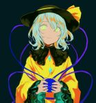 1girl aimai-me alternate_hair_color aqua_hair bow closed_eyes dark_background frilled_shirt_collar frilled_sleeves frills gem green_eyes hat hat_bow holding komeiji_koishi long_sleeves looking_at_viewer shirt short_hair simple_background smile solo third_eye touhou upper_body wide_sleeves yellow_bow yellow_shirt