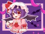 1girl bat_wings blouse brooch collared_blouse commentary_request cup eyebrows_visible_through_hair eyes_visible_through_hair fang glitter hat hat_ribbon holding holding_cup holding_plate jewelry looking_at_viewer mob_cap natsune_ilasuto open_mouth pink_blouse plate puffy_short_sleeves puffy_sleeves purple_background purple_hair red_eyes red_neckwear red_ribbon remilia_scarlet ribbon ribbon-trimmed_sleeves ribbon_trim short_hair short_sleeves solo sparkle teacup tongue touhou upper_body upper_teeth white_hat wings wrist_cuffs