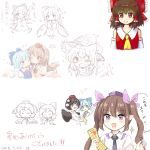 :o ;) ^_^ animal_ears blue_hair bow braid breasts brown_hair camera cellphone cirno closed_eyes collaboration cuddling d: daiyousei dog_ears dog_tail fang flip_phone hair_bow hakurei_reimu hat heart highres himekaidou_hatate hug ice ice_wings kemonomimi_mode kirisame_marisa kototoki large_bow medium_breasts one_eye_closed open_mouth partially_translated phone red_eyes shameimaru_aya single_braid sketch smile spoken_blush tail tail_wagging touhou translation_request v-shaped_eyebrows violet_eyes wings witch_hat yuri yururi_nano