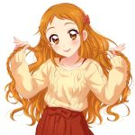 1girl :p aikatsu!_(series) big_hair blush bow braid character_request commentary_request hair_bow hands_up head_tilt high-waist_skirt highres long_sleeves orange_eyes red_bow red_skirt sekina simple_background skirt smile solo sweater tongue tongue_out white_background