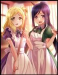 2girls :d apron ascot black_border blonde_hair blue_hair blurry blurry_background border braid brooch broom commentary_request crown_braid dress green_dress green_neckwear hair_rings highres jewelry long_hair long_ponytail looking_at_viewer love_live! love_live!_sunshine!! maid matsuura_kanan multiple_girls ohara_mari open_mouth purple_dress purple_neckwear short_sleeves sidelocks smile violet_eyes white_apron yellow_eyes yumesaki_nana