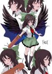 1girl arm_cannon artist_name black_footwear black_hair black_legwear black_wings blush bow breasts cape closed_eyes collared_shirt commentary_request expressions feathered_wings fkey full_body green_bow green_skirt hair_bow highres kneehighs long_hair looking_at_viewer mary_janes medium_breasts miniskirt multiple_views open_mouth puffy_short_sleeves puffy_sleeves red_eyes reiuji_utsuho shirt shoes short_sleeves simple_background skirt smile standing touhou upper_body weapon white_background white_cape white_shirt wings