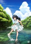 1girl :d abazu-red artist_name barefoot blue_eyes blue_hair character_name clouds cloudy_sky commentary_request day dress girls_und_panzer highres kicking leaning_forward open_mouth outdoors pond signature skirt_hold sky sleeveless sleeveless_dress smile solo splashing standing standing_on_one_leg tree wading yamagou_ayumi