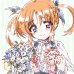 1girl artist_name badge bangs black_ribbon black_skirt blue_eyes bouquet brown_hair closed_mouth commentary_request english eyebrows_visible_through_hair flower frilled_shirt frills green_background hair_ribbon happy_birthday highres holding holding_bouquet kuroi_mimei long_sleeves looking_at_viewer lyrical_nanoha mahou_shoujo_lyrical_nanoha ribbon shirt short_hair short_twintails signature sketch skirt smile solo striped striped_background suspender_skirt suspenders takamachi_nanoha twintails upper_body vertical-striped_background vertical_stripes white_shirt