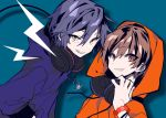 2boys blue_background brown_eyes brown_hair commentary_request eyebrows_visible_through_hair from_side grin headphones headphones_around_neck hood hood_down hood_up hoodie jewelry looking_at_viewer male_focus mochizuki_kei multiple_boys necklace orange_hoodie original purple_hair purple_hoodie simple_background smile v-shaped_eyebrows