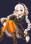 1girl :d ahoge bangs black_background black_dress black_footwear black_jacket blush boots braid breasts cross-laced_footwear dress eyebrows_visible_through_hair hair_between_eyes hair_ornament headphones highres jacket kizuna_akari lace-up_boots long_hair long_sleeves looking_at_viewer low_twintails open_mouth orange_legwear pantyhose puffy_long_sleeves puffy_sleeves silver_hair simple_background sleeves_past_wrists small_breasts smile solo striped striped_legwear twin_braids twintails vertical-striped_legwear vertical_stripes very_long_hair violet_eyes vocaloid voiceroid waste_(arkaura)