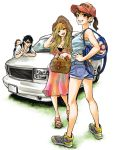 1boy 2girls baby bag black_hair blonde_hair breasts brown_eyes brown_hair car cleavage date_ryuunosuke_(hare-kon.) date_yuzu dress earrings full_body ground_vehicle hand_on_hip hare-kon. hat highres jewelry long_hair looking_at_viewer looking_back maezono_koharu motor_vehicle multiple_girls non_(mangaka) official_art open_mouth ponytail ring sandals short_shorts shorts shoulder_bag smile standing sunglasses v wedding_ring