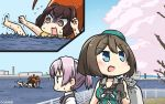 3girls :d beret black_gloves blue_eyes brown_eyes brown_hair cherry_blossoms commentary dated gloves grey_vest hair_ornament hamu_koutarou hat highres ise_(kantai_collection) kantai_collection maya_(kantai_collection) multiple_girls open_mouth petals pink_hair ponytail remodel_(kantai_collection) shiranui_(kantai_collection) shirt short_hair sleeveless smile vest white_shirt x_hair_ornament