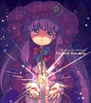 1girl :o argyle bangs blue_ribbon capelet character_name coat commentary_request eyebrows_visible_through_hair frilled_capelet hat hat_ribbon head_tilt iris_anemone long_hair looking_at_viewer magic magic_circle mob_cap open_hands patchouli_knowledge pin purple_coat purple_hair purple_hat red_ribbon ribbon rope shining sidelocks solo star star_(sky) star_and_crescent tareme touhou translation_request upper_body
