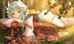 1girl absurdres aqua_hair ass bamboo bamboo_forest blurry bow closed_mouth commentary depth_of_field dragon_girl dragon_horns eyebrows_visible_through_hair fan fate/grand_order fate_(series) fish flower folding_fan forest highres horns japanese_clothes junpaku_karen kiyohime_(fate/grand_order) koi light_smile lily_pad long_hair looking_at_viewer lotus lying nature obi on_stomach partially_submerged pixiv_id pond rain ripples sash solo thigh-highs white_legwear wood yellow_eyes