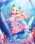 1girl :d animal bangs beamed_quavers blonde_hair blue_eyes blurry blurry_foreground blush bubble cardfight!!_vanguard character_request commentary_request coral crotchet depth_of_field dress dutch_angle eyebrows_visible_through_hair fingernails fish fish_request forehead heart long_hair looking_at_viewer mermaid momoshiki_tsubaki monster_girl musical_note nail_polish official_art open_mouth outstretched_arms parted_bangs pink_dress pink_nails pink_sailor_collar quaver sailor_collar sailor_dress smile solo underwater upper_body very_long_hair water wrist_cuffs